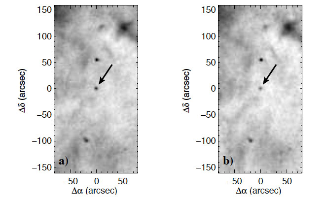 Herschel image at 70 µm of the GX 339-4 black-hole binary system. Credit: ESA/Herschel/PACS/S.Corbel et al.