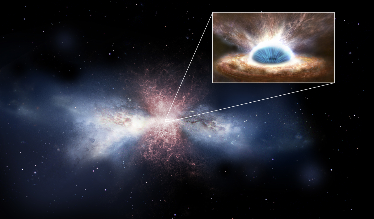 Black-hole winds sweep away the gas in galaxies - Artist's impression. Credit: ESA/ATG medialab